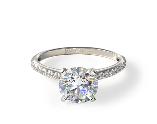 PLATINUM COMMON PRONG ROUND SHAPED DIAMOND ENGAGEMENT RING
