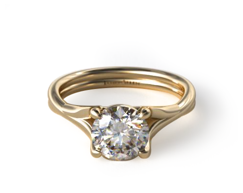 YELLOW GOLD TWISTED SHANK CONTEMPORARY SOLITAIRE