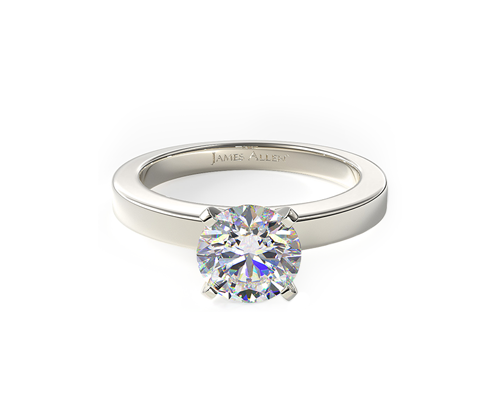 WHITE GOLD FLAT EDGED DIAMOND SOLITAIRE ENGAGEMENT RING