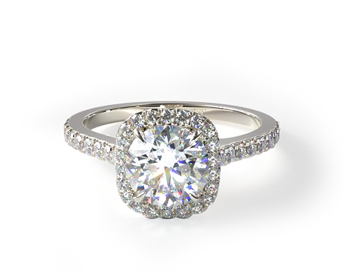 WHITE GOLD CUSHION OUTLINE PAVE ENGAGEMENT RING