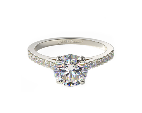 WHITE GOLD PETITE PAVE CATHEDRAL ENGAGEMENT RING