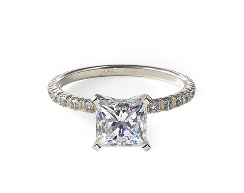 WHITE GOLD THIN FRENCH-CUT PAVE SET DIAMOND ENGAGEMENT RING