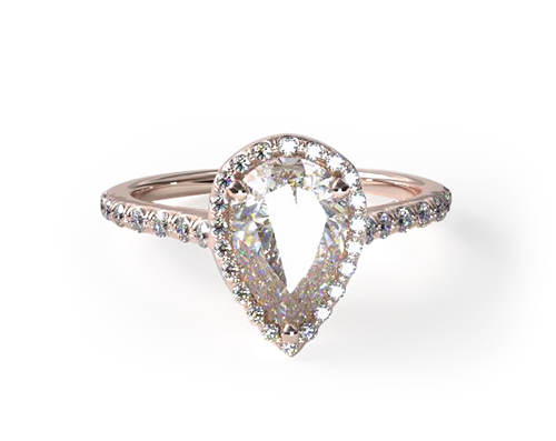 ROSE GOLD PAVE HALO AND SHANK DIAMOND ENGAGEMENT RING (PEAR CENTER)