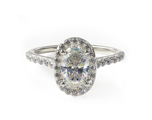 WHITE GOLD PAVE HALO DIAMOND ENGAGEMENT RING (OVAL CENTER)