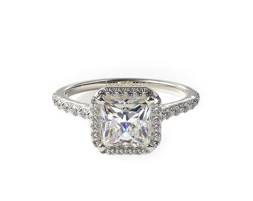 WHITE GOLD PAVE HALO DIAMOND ENGAGEMENT RING (PRINCESS CENTER)
