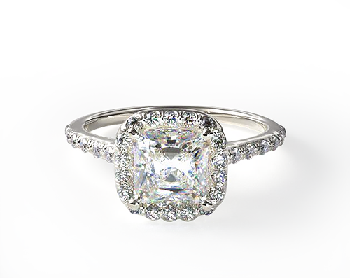 WHITE GOLD PAVE HALO DIAMOND ENGAGEMENT RING (CUSHION)