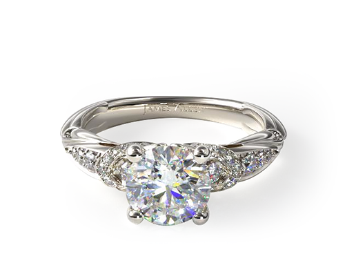 WHITE GOLD GRADUATED PAVE ENGAGEMENT RING