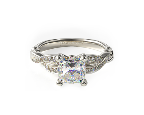 WHITE GOLD PAVE CROSSOVER ENGAGEMENT RING
