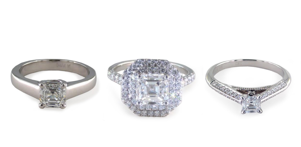 diamond shapes - Asscher rings