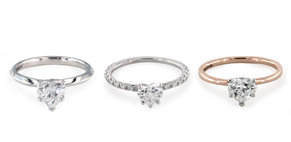 diamond shapes - Heart rings