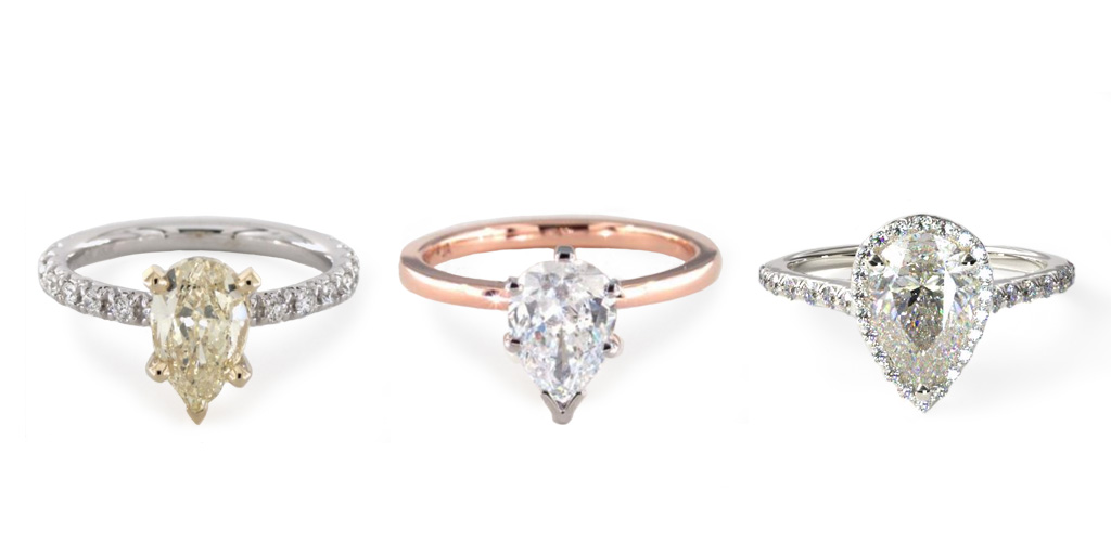 diamond shapes - Pear rings