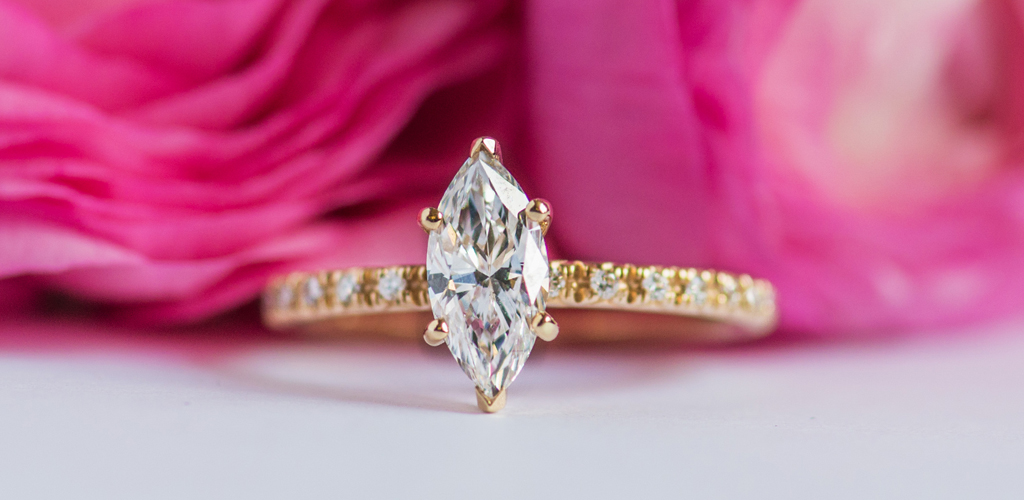stunning marquise cut engagement ring