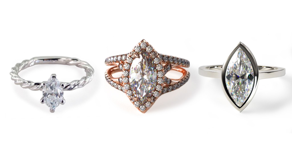 diamond shapes - marquise rings