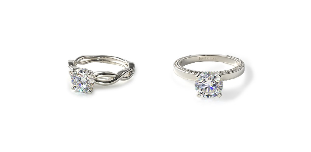 White metal engagement rings that make their center diamonds look bigger.