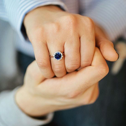 sapphire halo engagement ring selfie