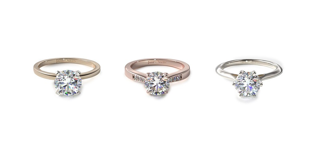 Three engagement ring bands that make their center diamonds look bigger: a thin ring band, a knife-edge ring band, and a tapered ring band.