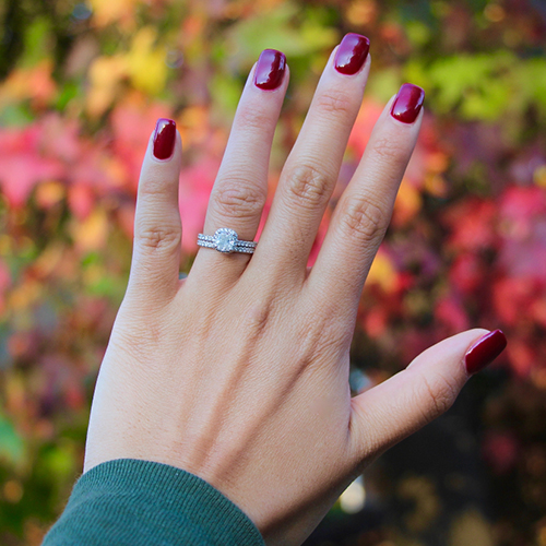 autumn engagement ring selfie with manicure