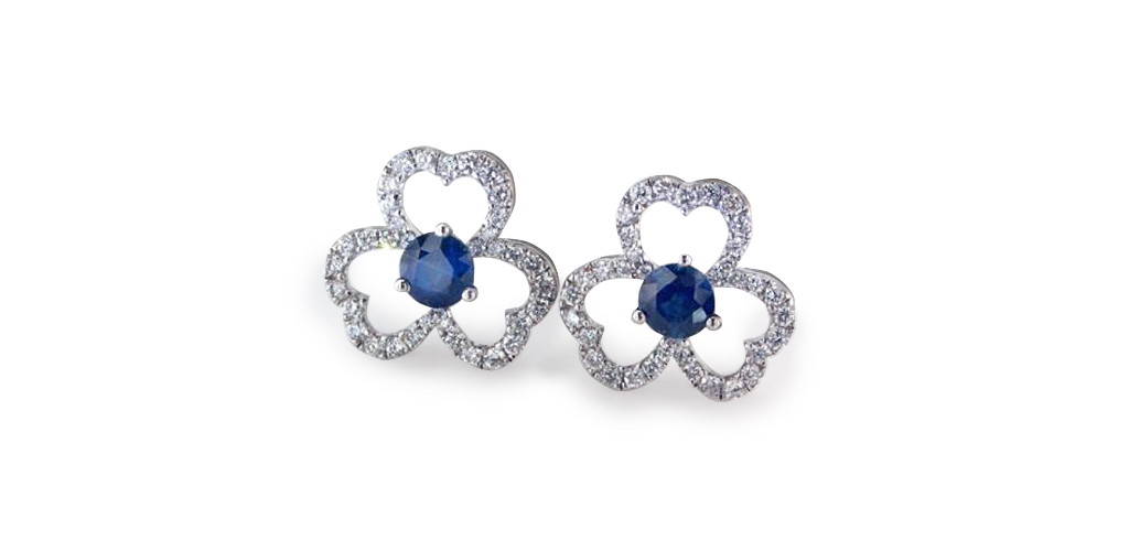 Blue Pave Clover Sapphire and Diamond Earrings