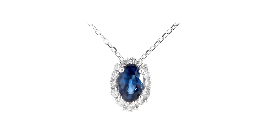 Blue Sapphire and Diamond Halo Necklace