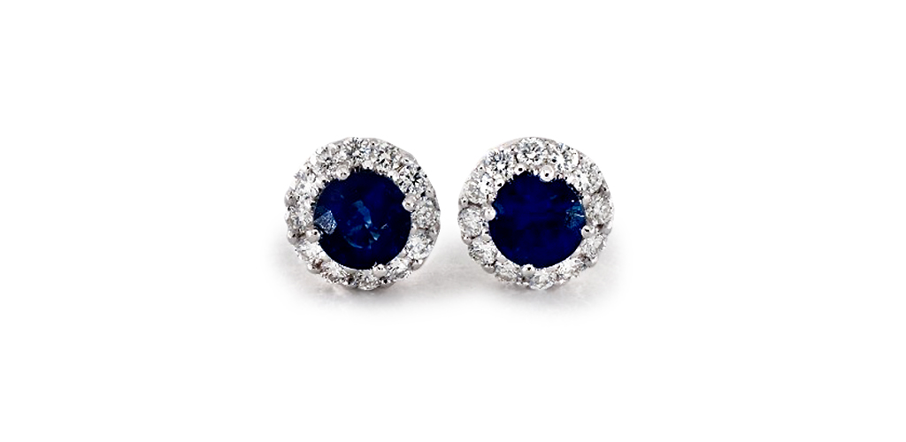 Halo Sapphire and Diamond Earrings