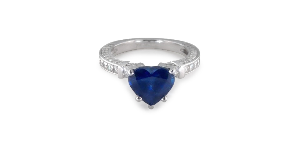 Bar-Set and Three-Sided Pavé Engagement Ring with Heart Shaped Sapphire