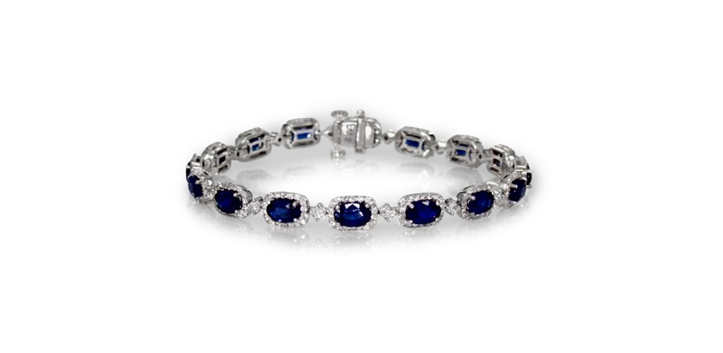 18K White Gold Oval Shape Blue Sapphire And Diamond Bracelet