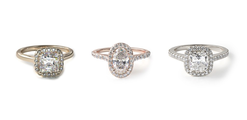 Halo engagement rings that make their center diamonds look bigger.