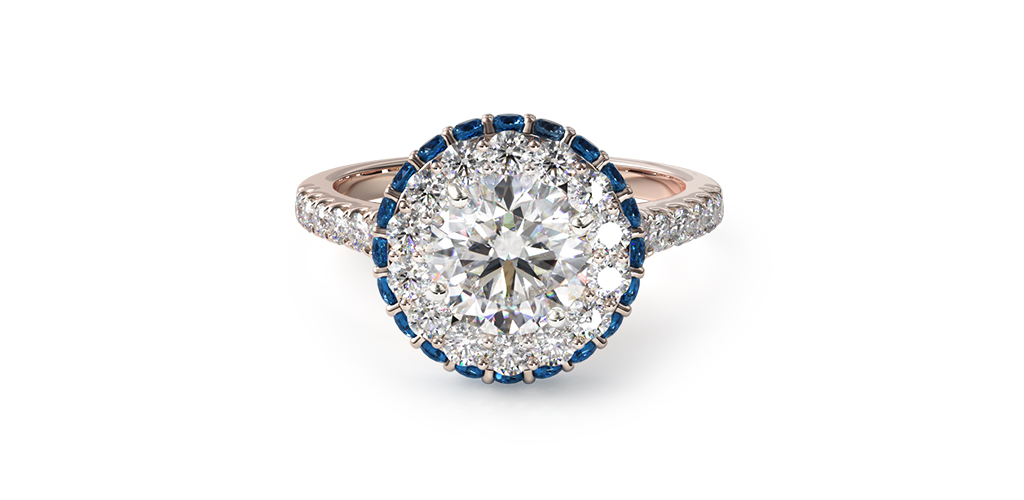 rose gold sapphire accented falling edge halo engagement ring