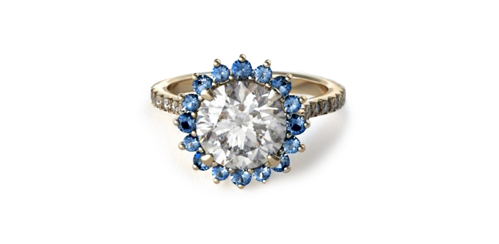 sunburst blue sapphire and diamond engagement ring