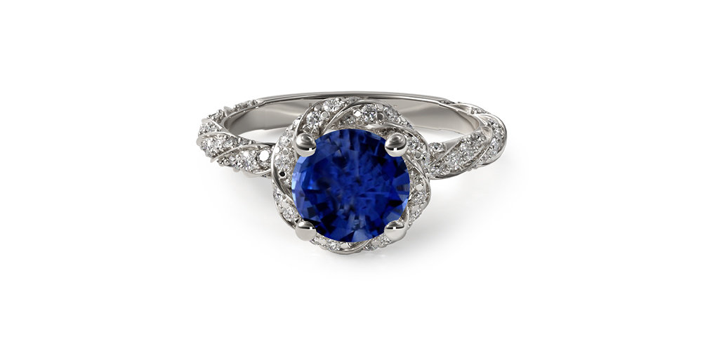 twisted pavé halo sapphire and diamond engagement ring