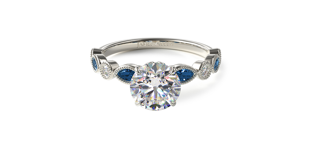 Vintage Round Diamond and Marquise Sapphire Engagement Ring