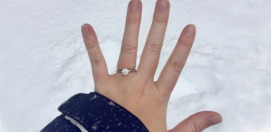 winter proposal - solitaire engagement ring