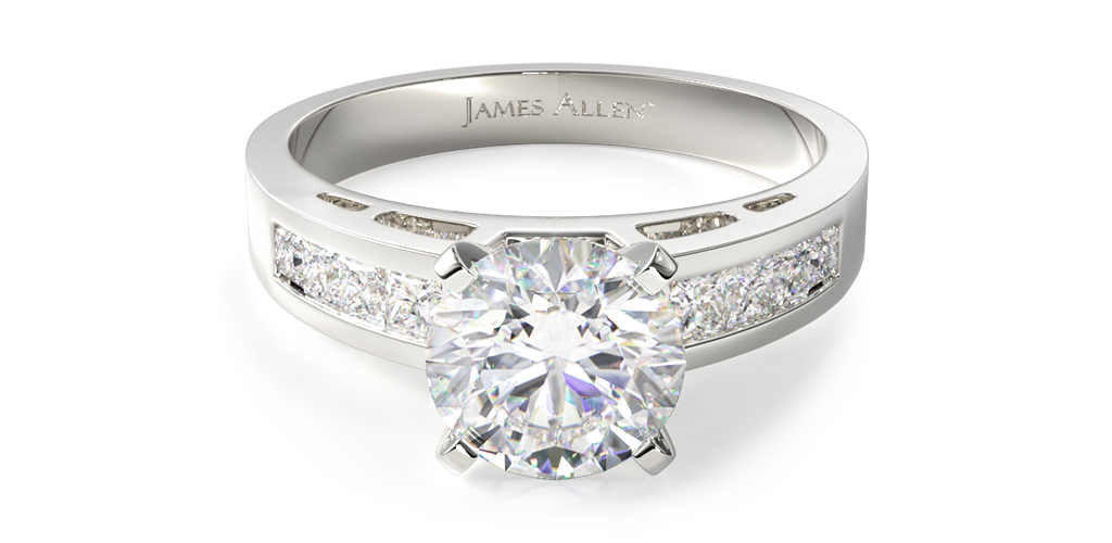 14K White Gold 0.42ct Channel Set Diamond Engagement Ring