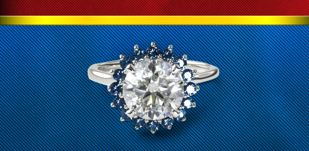 Wonder Woman-inspired sapphire and diamond halo ring