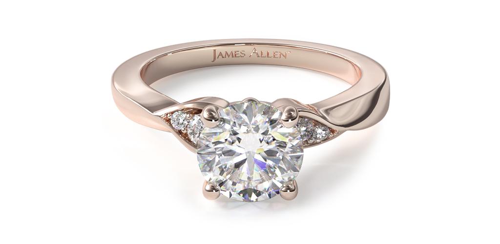 14K Rose Gold Blossoming Vine Engagement Ring
