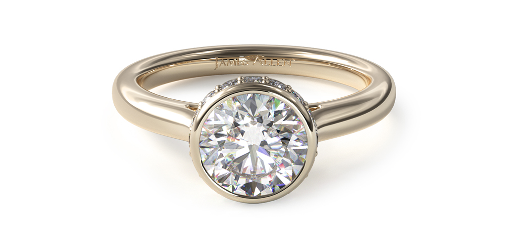 14K Yellow Gold Pavé Crown Bezel Engagement Ring