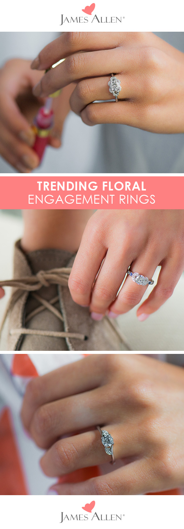 Trending floral engagement rings