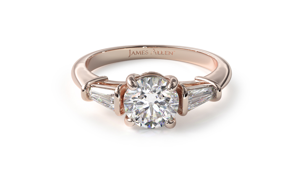 Rose Gold Tapered Baguette Diamond Engagement Ring