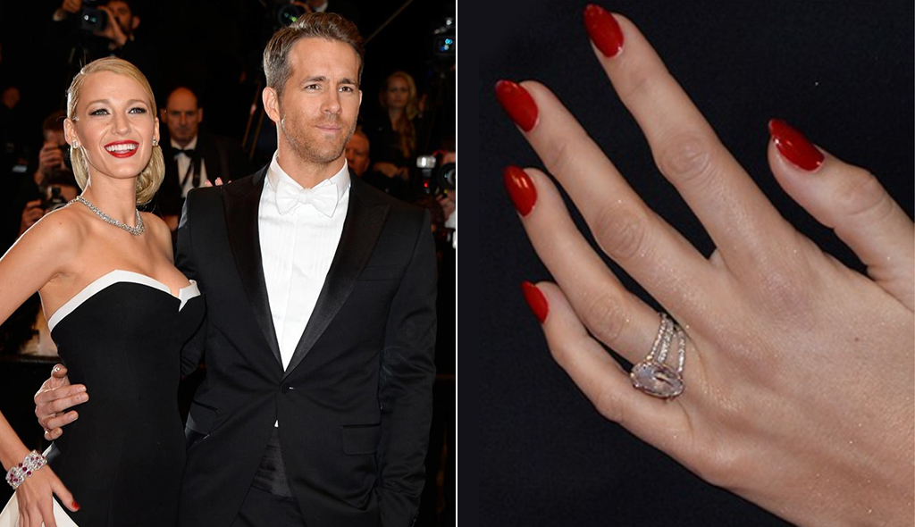 Ryan Reynolds Blake Lively Rose Gold Engagement Ring