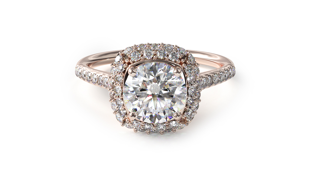 Rose Gold Cushion Halo Diamond Engagement Ring