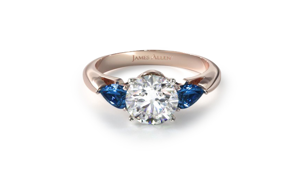 Rose Gold Three Stone Pear Shaped Blue Sapphire Engagement Ring