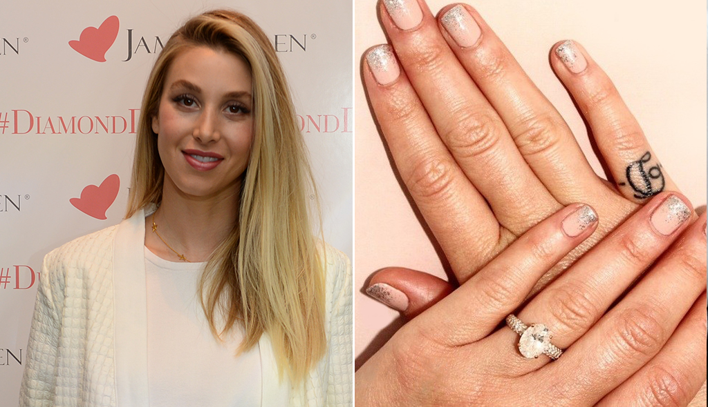 Zoom in on Whitney Port's hands and rose gold engagement ring