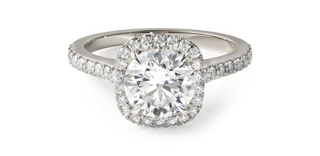 pavé engagement ring with cushion halo