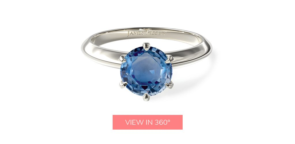 2.47 Carat Round Natural Blue Sapphire 2mm Comfort Fit Solitaire Engagement Ring