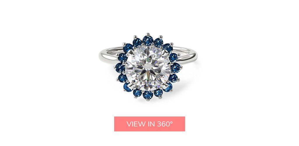 14K White Gold Blue Sapphire Pave Sunburst Engagement Ring