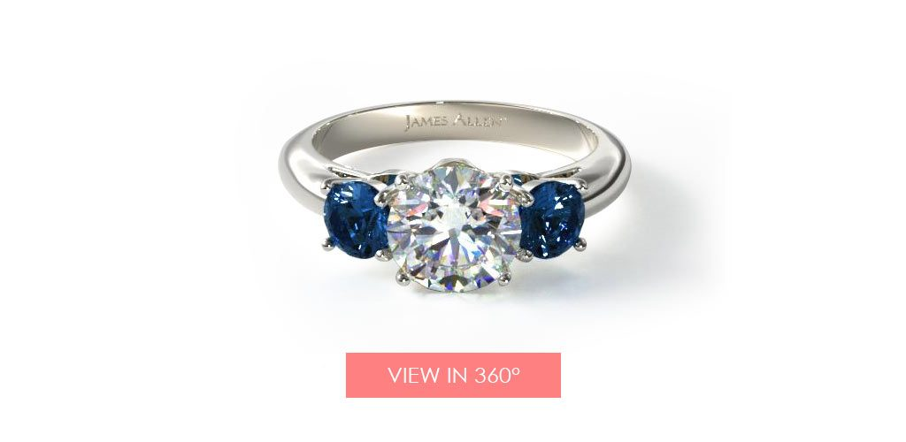 three stone sapphire diamond engagement ring