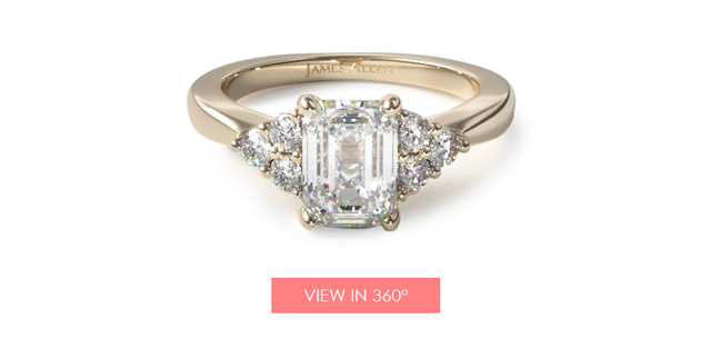 14K Yellow Gold Triple Diamond Engagement Ring