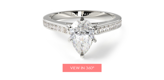 Pear Shaped Diamond Perfect Pave Engagement Ring