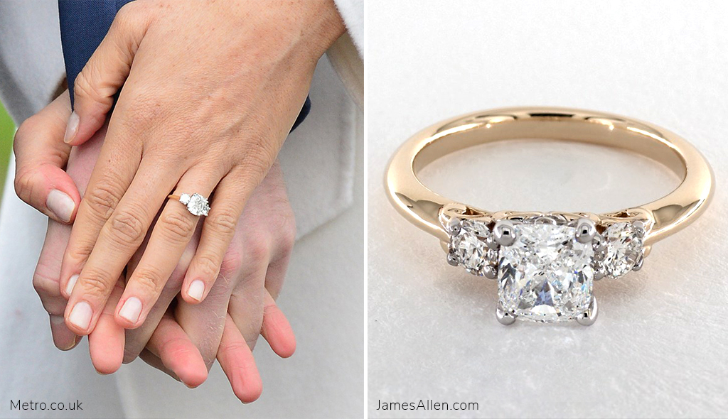 meghan markle's engagement ring cushion modified cut three stone