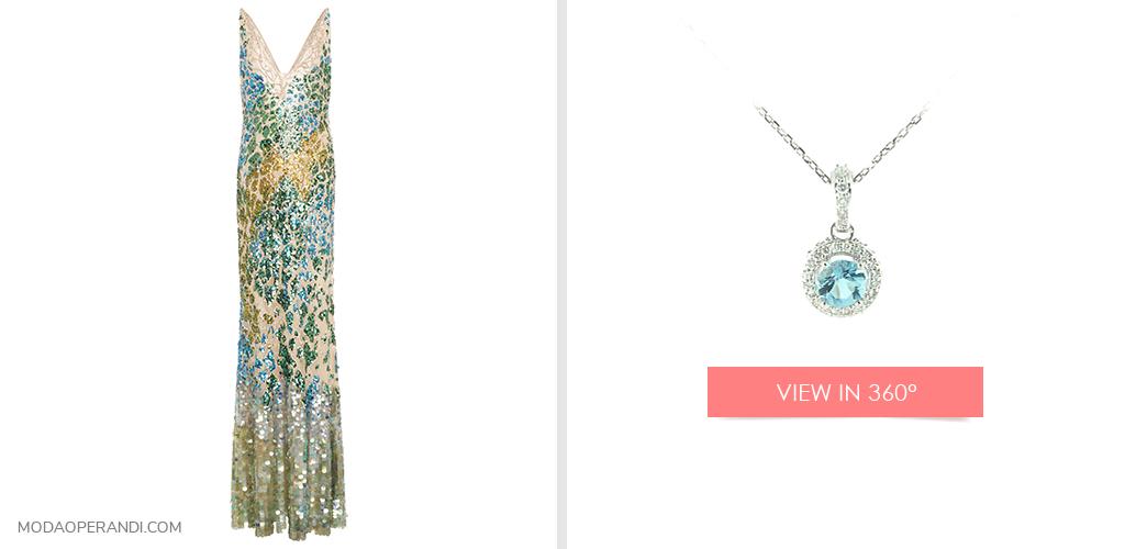 14K White Gold Aquamarine And Diamond Falling Edge Halo Necklace